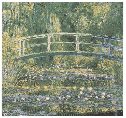 Monet's Japanese Bridge At Giverny Tapestry Wall Hanging, 28in x 28in