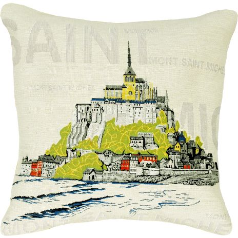 Mont Saint Michel City View Tapestry Cushion Cover - Pop Home Decor Collection, 18in x 18in cushion cover