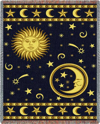 Moon and Stars Tapestry Throw, 54in x 70in