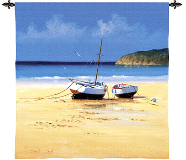Moorings Low Tide Nautical Wall Tapestry - Boats Picture, 35in x 35in