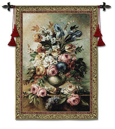 Mothers Bouquet Still Life Wall Tapestry - Flowers In A Vase Picture, 38in x 53in