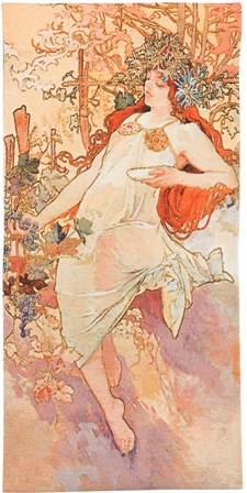 Mucha Autumn Tapestry Wall Hanging - Four Seasons In Pastel Colors, 50in x 25in