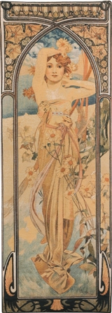 Mucha Jour Tapestry Wall Hanging - Hours of the Day Series, 39in x 14in