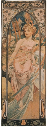 Mucha Matin Tapestry Wall Hanging - Hours of the Day Series, 39in x 14in