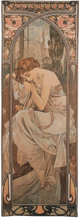 Mucha Nuit Tapestry Wall Hanging - Hours of the Day Series, 39in x 14in