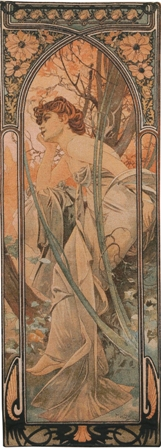 Mucha Soir Tapestry Wall Hanging - Hours of the Day Series, 76in x 28in