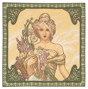 Mucha Spring Cushion Cover, 18in x 18in