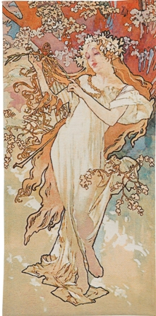 Mucha Spring Tapestry Wall Hanging - Four Seasons In Pastel Colors, 50in x 25in