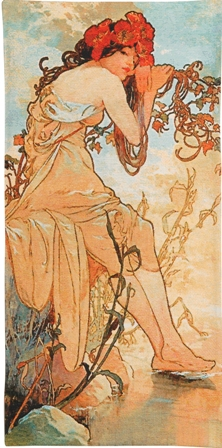 Mucha Summer Tapestry Wall Hanging - Four Seasons In Pastel Colors, 50in x 25in