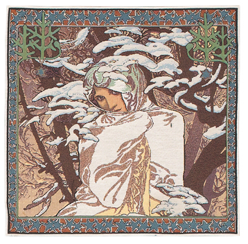 Mucha Winter Cushion Cover, 18in x 18in