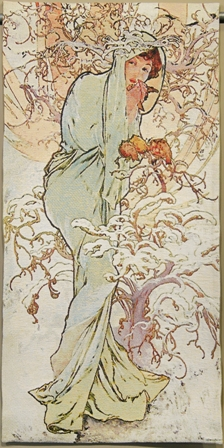 Mucha Winter Tapestry Wall Hanging - Four Seasons In Pastel Colors, 50in x 25in