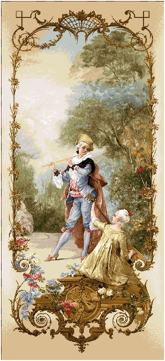 Music Lesson II  Romantic Pastoral Scene Tapestry Wall Hanging, H68inx W28in