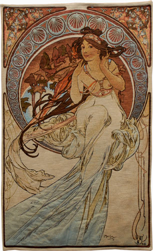 Music Romantic Tapestry Wall Hanging - Alphonse Mucha Art, 45in X 27in
