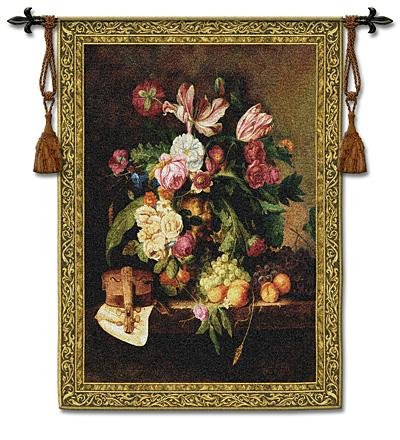 Musical Bouquet Still Life Wall Tapestry - Floral Bouquet With Fruits, 38in x 53in