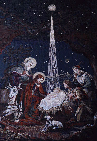 Religious Wall Tapestry inChristmas Nativity Scenein - Religious Picture, 13.2in X 18.4in