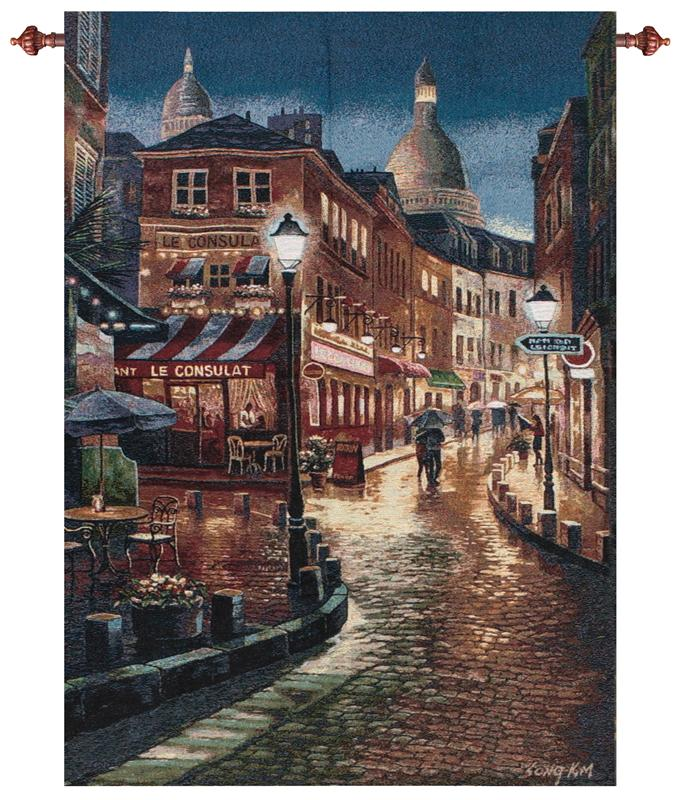 Night Stroll Tapestry Wall Hanging - Italian Cityscape, 35in X 53in