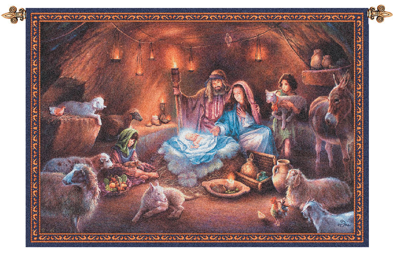 No Room At The Inn Christmas Tapestry Wall Hanging - Nativity Scene, 26in X 36in