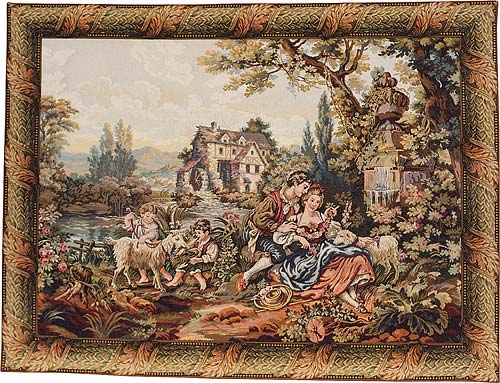 Noble Pastorale Romantic Tapestry Wall Hanging, 65in X 80in