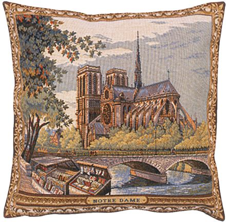 Notre Dame II City View Tapestry Cushion Cover - European Home Decor Collection, 18in x 18in cushion cover