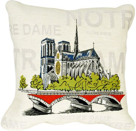Notre Dame City View Tapestry Cushion Cover - Pop Home Decor Collection, 18in x 18in cushion cover