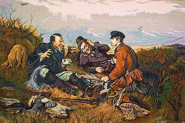Wall Tapestry Hunters At Rest - Hunting Picture, 31in X 20in