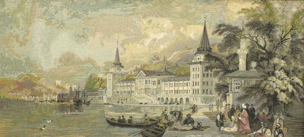 Old Port Scene IV Harbour Tapestry Wall Hanging, H28inx W56in