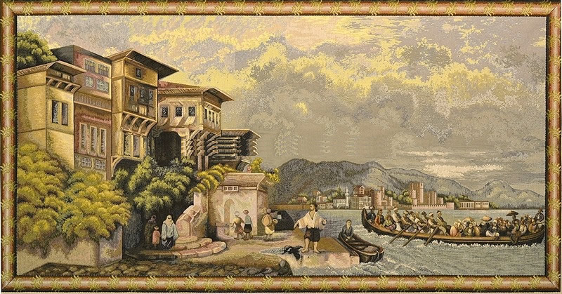 Old Port Scene V Harbour Tapestry Wall Hanging, H28inx W56in