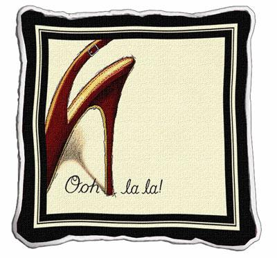 Ooh La La Contemporary Tapestry Cushion - Fashion Design, 17in x 17in