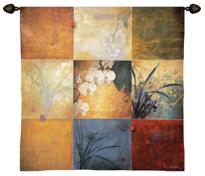 Orchid Nine Patch Modern Tapestry Fine Art Picture, 35in x 35in