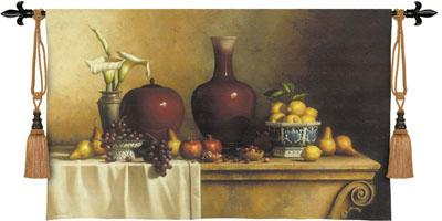 Oriental Stillife with Lilies Tapestry Wall Hanging - Fruit Picture, 53in x 34in
