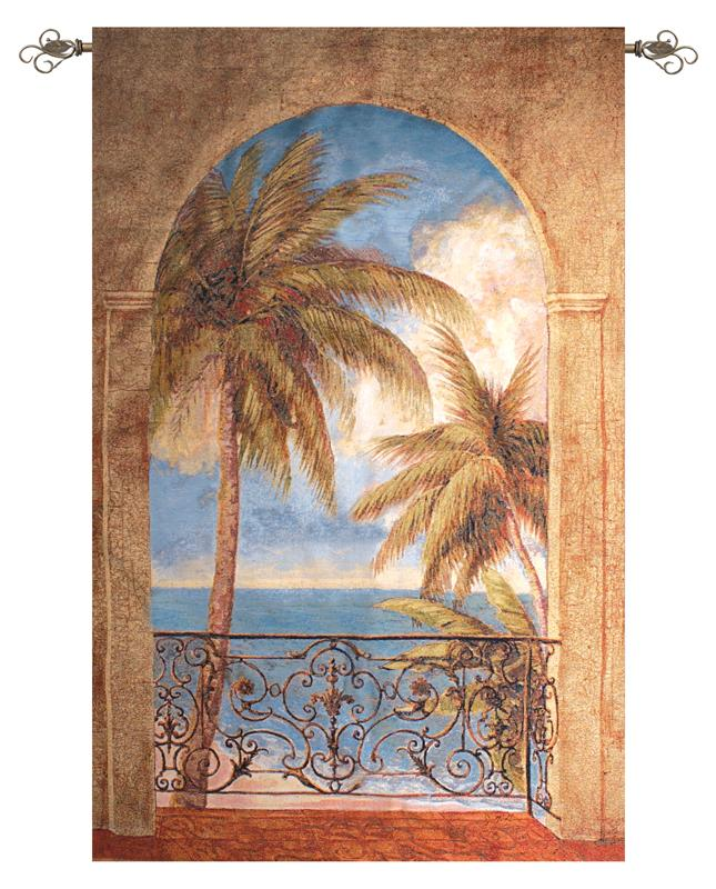 Palm Archway Tropical Tapestry Wall Hanging, 50in X 70in