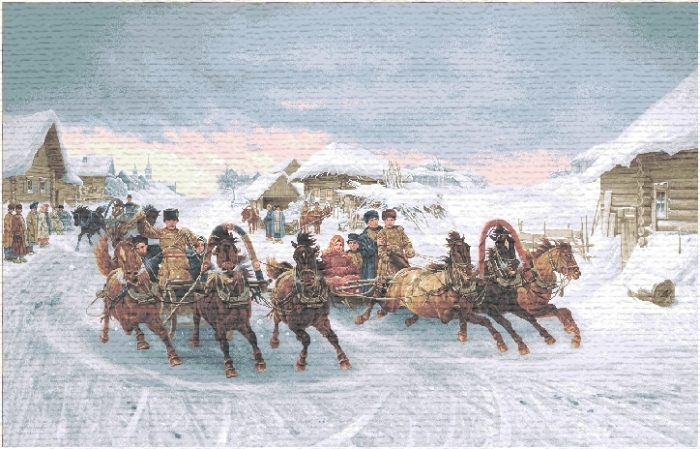 Pancake Week II Russian Winter Landscape Tapestry, H28in x W43.2in
