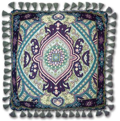 Paradise Garden Ornamental Tapestry Cushion - Asian Motif, 24in x 24in