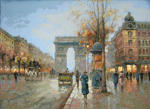 Wall Tapestry Paris At Night - Arc De Triomphe Imressionist Style Painting, 20in X 30in