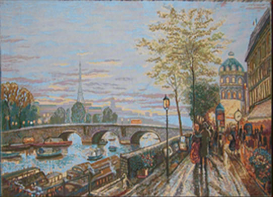 Paris Harbourfront Tapestry Wall Hanging - Quai de Seine View, 36in X 22in