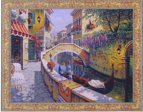 Passage to San Marco City Picture Tapestry Wall Hanging, 38in x 48in