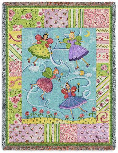 Patchwork Fairies Tapestry Throw, 53in x 70in