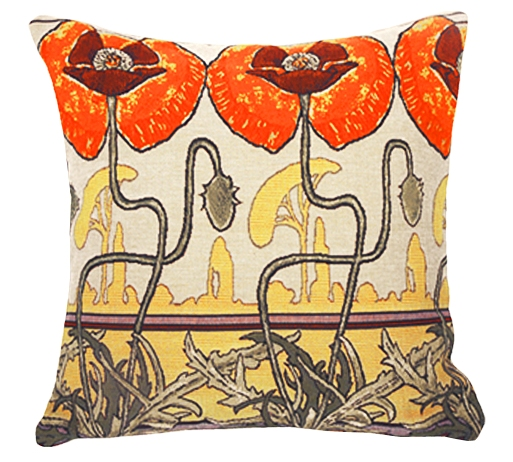 Pavots Art Nouveau Tapestry Cushion Cover - European Home Decor Collection, 18in x 18in cushion cover