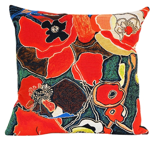 Pavots Tapestry Cushion Cover - European Home Decor Collection, 18in x 18in cushion cover