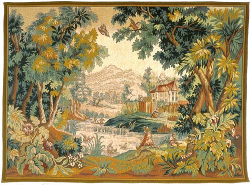 Paysage Du Lauragais Classic Landscape Wall Tapestry - Pastoral Scene, 50in x 72in