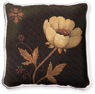Peony Fresco Floral Tapestry Cushion - Botanical Design, 17in x 17in