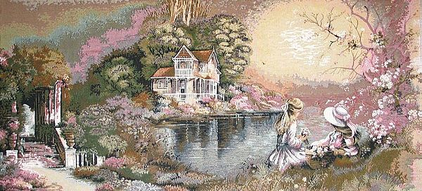 Two Young Girls By The Lake Pastoral Scene Tapestry Wall Hanging, H28in x W52in