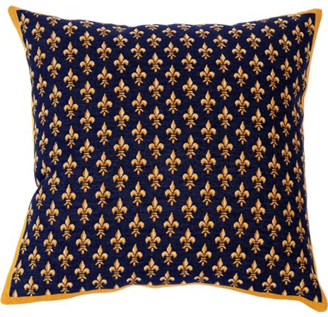 Petit Fleur De Lys Bleu Tapestry Cushion Cover - Classic Home Decor Collection, 18in x 18in cushion cover