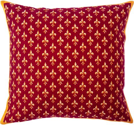 Petit Fleur De Lys Rouge Tapestry Cushion Cover - European Home Decor Collection, 18in x 18in cushion cover
