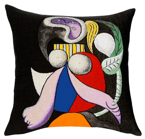 Picasso's Femme A La Fleur Tapestry Cushion Cover - European Home Decor Collection, 18in x 18in cushion cover