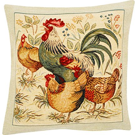 Picoti Tapestry Cushion Cover - Cock Picture, 18in x 18in cushion cover
