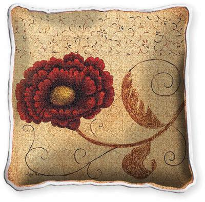 Pincushion Fresco Floral Tapestry Cushion - Botanical Design, 17in x 17in