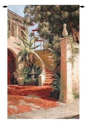Pineapple Court Courtyard Scene Tapestry Wall Hanging, 35in x 53in