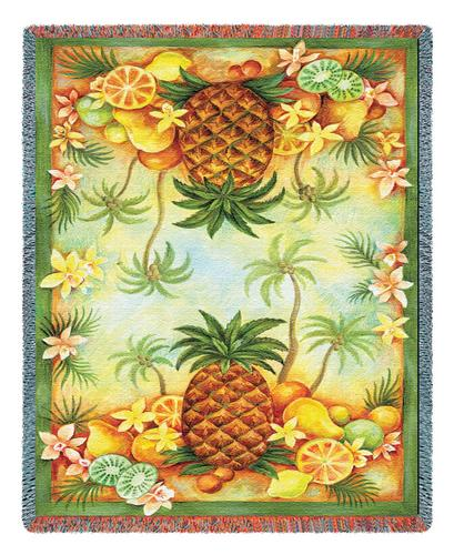 Pineapples & Fruit Tapestry Throw, 54in x 70in
