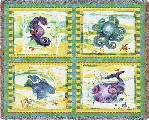 Playful Sea Tapestry Throw, 70in x 54in